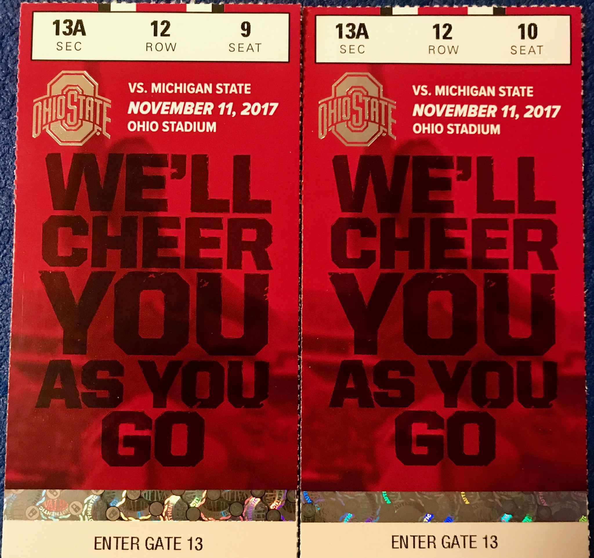 5 Raffle Tickets (Special Price) to win 2 Ohio State vs Michigan St   Football Tickets!